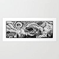 Steampunk Skyline Art Print
