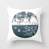 Mountain print , Navy Blue poster , mid century Modern art , travel poster Throw Pillow