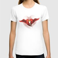 HeartBirds Womens Fitted Tee White SMALL