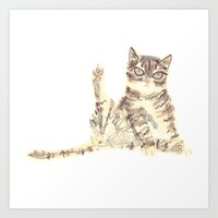 Cheeky Kitty Cat Art Print