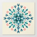 Watercolor Lotus Mandala in Teal & Salmon Pink Canvas Print