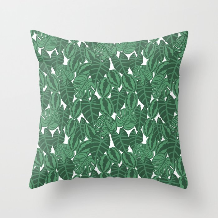Modern Botanical Pillow : Botanical tropical pattern leaves painting watercolor free spirit boho modern pattern garden ...