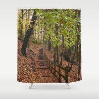 Steps Through Autumnal W… Shower Curtain