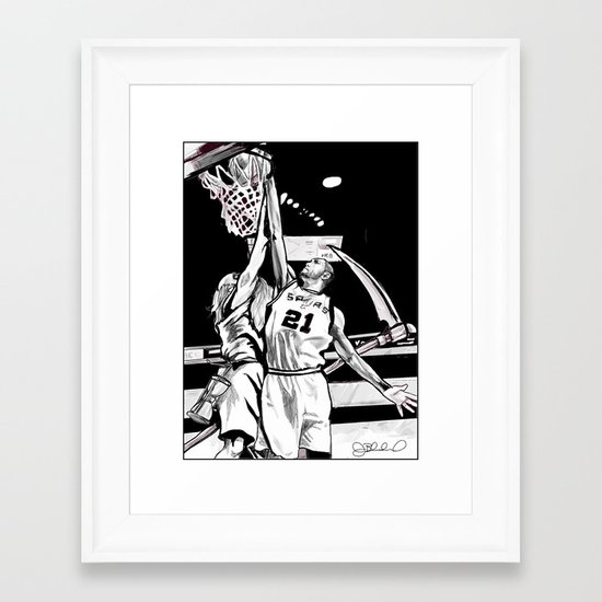 Tim Duncan vs. Father Time Framed Art Print
