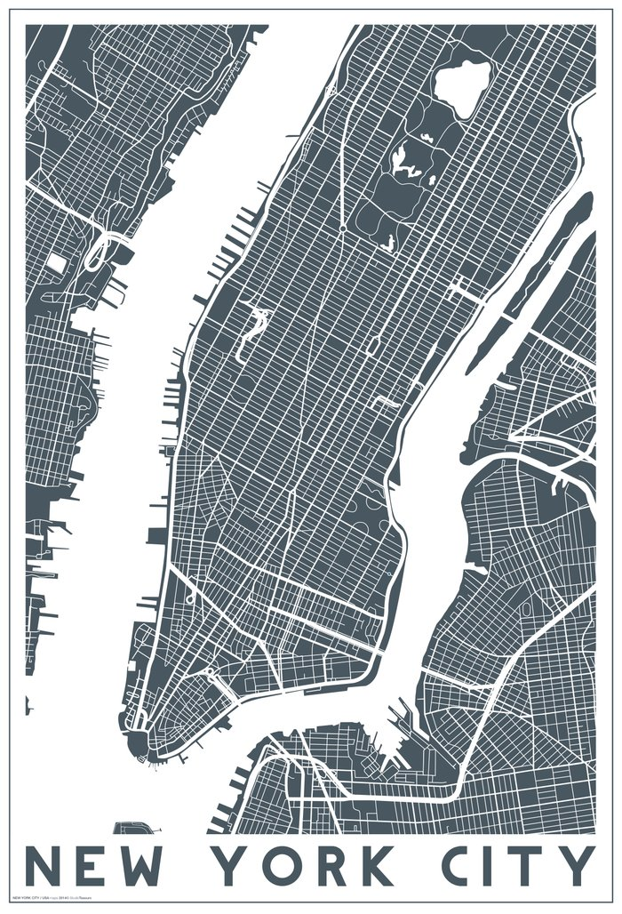 New York City Map Art Print By Studio Tesouro