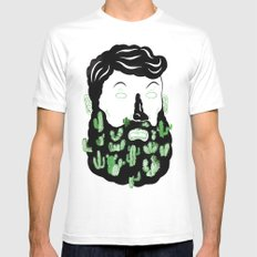 Cactus Beard Dude SMALL White Mens Fitted Tee