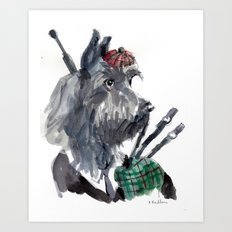 Bagpiping Scottie Art Print