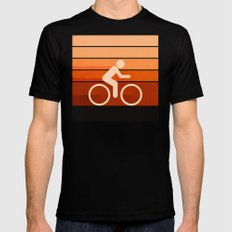 Biking Orange SMALL Black Mens Fitted Tee