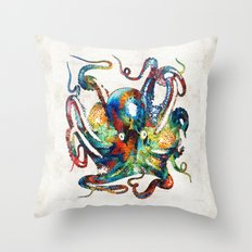 Colorful Octopus Art By … Throw Pillow