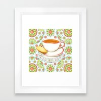 Cup of Tea on Mandala Cloth Framed Art Print