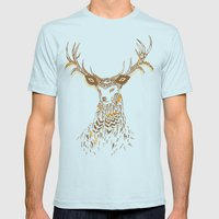 Tribal Deer Mens Fitted Tee Light Blue SMALL
