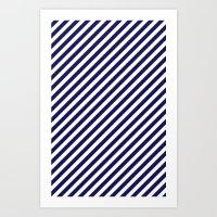 Classic Stripes In Navy … Art Print
