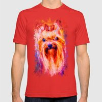 Jazzy Yorkshire Terrier Colorful Dog Art by Jai Johnson Mens Fitted Tee Red SMALL