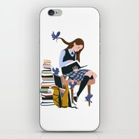 Dressed by Birds (White) iPhone & iPod Skin