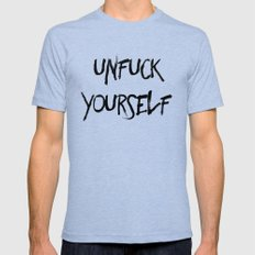 Unfuck Yourself Mens Fitted Tee Tri-Blue SMALL