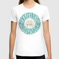 quotes T-shirts featuring Treat Yo Self – Gold & Turquoise by Cat Coquillette