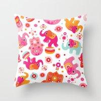 Colorful Oriental Elepha… Throw Pillow