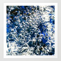 Blue Bubbles Macro photography River stream underwater abstract art bright bold vibrant color! Art Print