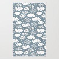 Raw Geometric Clouds Blu… Rug