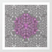 Mandala Pattern With Gli… Art Print