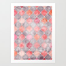 Rhythm of the Seasons - coral pink & grey Art Print