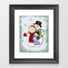 Snowman and Family Glittered Framed Art Print