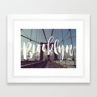 Brooklyn Bridge Photography and Calligraphy Framed Art Print