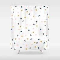 Modern pastel pink navy blue gold glitter confetti Shower Curtain