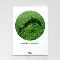 Hipster Dolphin. Stationery Cards