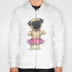 Cute Pug Puppy Dog Watercolor Painting Hoody