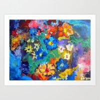 Flora Azul Art Print