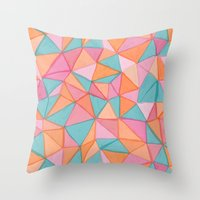 watercolor triangles Throw Pillow