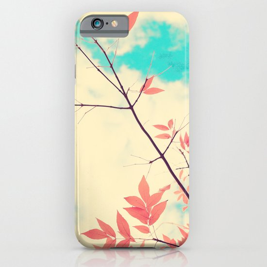 Pink fall leafs on retro vintage sky  iPhone & iPod Case