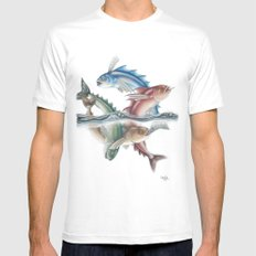 INKYFISH - Jumping Fish SMALL White Mens Fitted Tee