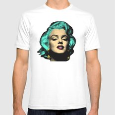 MARILYN BLUE White Mens Fitted Tee SMALL