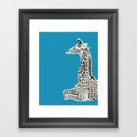 Giraffe in Blue Framed Art Print