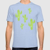 Linocut Cacti Minty Pinky Mens Fitted Tee Tri-Blue SMALL