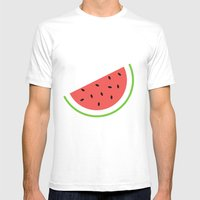 #11 Watermelon Mens Fitted Tee White SMALL