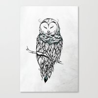 Poetic Snow Owl Canvas Print