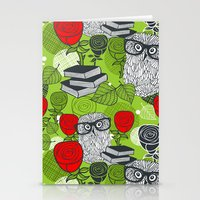 Owls and rose. Stationery Cards