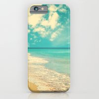 iPhone & iPod Case featuring Waves of the sea (retro beach and blue sky) by AC Photography