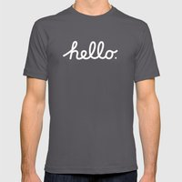 Hello: The Macintosh Office (Beige) Mens Fitted Tee Asphalt SMALL