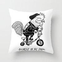 Anarchy In The Farm Throw Pillow