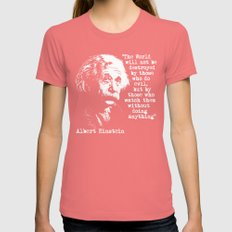 Albert Einstein Womens Fitted Tee Pomegranate SMALL