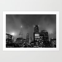 Foggy Chicago Night Art Print