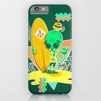iPhone & iPod Case featuring Alien Surfer Nineties Pattern by chobopop