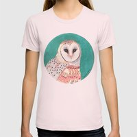 barn owl Womens Fitted Tee Light Pink SMALL