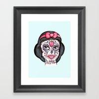 Snow Sugar Skull Framed Art Print