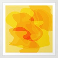 Orange Abstract Shapes Art Print