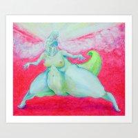 godzilla - lady dinosaur Art Print